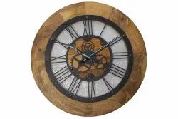 Brown Analog 22inch Roman Wooden Wall Clock, For Home