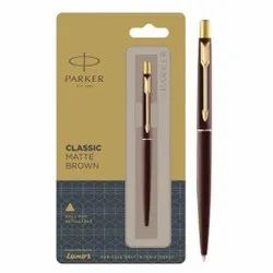 Parker Classic Matte Brown Refillable Ball Pen With Gold Trim