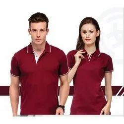 Cotton Maroon Designer Polo T Shirt, Age Group: Mens