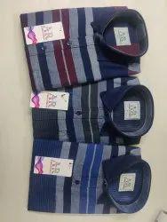 Stripes Collar Neck Cotton Indigo Shirts, Machine wash, Size: M-xxl