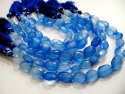 Natural Blue Chalcedony Oval Faceted Briolette Beads 12x15mm Strand 8 Inches Long