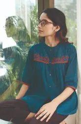 Janasya Women's Teal Cotton Flex Top(J0201)