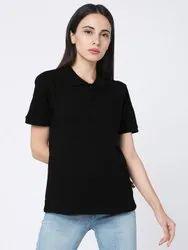 Behariji Enterprises Polo T Shirt Women Casual Collar T-Shirt, Size: XS-XXL