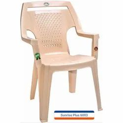 High Back Marble Beige Plastic Chair