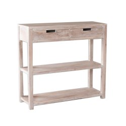 Wooden Contemporary White Washed Entryway Console Table, Number Of Drawer: Two, Size: 85cm X 50cm X 80cm