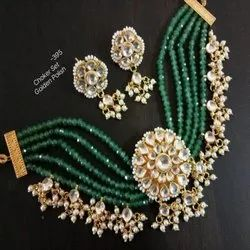 Green And White Color Antique Traditional Kundan Set For Women And Girl Bijoux