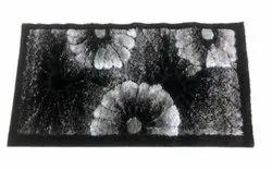 For Home Black Rectangular Shaggy Room Carpet