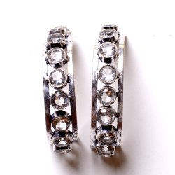 White Topaz Gemstone Designer Earrings