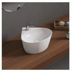 Oval Plain Geo Table Top Basin, For Bathroom, 360 X 368 X 151 Mm (l X W X H)