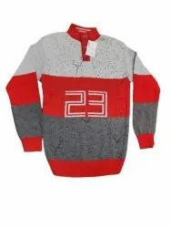 Wool Red and Grey Mens Full Sleeve Sweater, Size: Xl