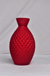 Red Glossy Glass Flower Vase, Size: 10 Inch