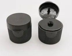 Plastic Lids Manufacture Supply Black 24-410 Ribbed Flip Top Cap