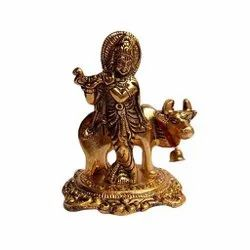 Metal Gold Plated Krishna With Cow Statue For Home Decoration & Gifting Purpose