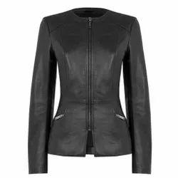 Full Sleeve Plain MBE/kl/01 Sheep Black Leather Jackets