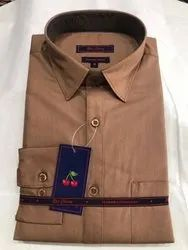 Cotton Collar Neck Men Brown Shirt