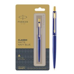 Parker Classic Matte Navy Blue Refillable Ball Pen With Gold Trim