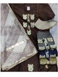 46inch Brown Ladies Satin Chanderi Unstitched Salwar Suit