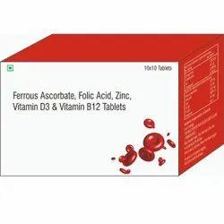 Ferrous Ascorbate, Folic Acid, Zinc, Vitamin D3 & Vitamin B12 Tablets