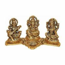 Gold Plated Decorative Laxmi Ganesh Saraswati Statue For DIwali Pooja & Corporate Gift