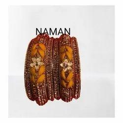 Leaf Design Orange Bangles For Women And Girl Bijoux