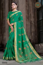 Embroidered Border Sanjoti Designer Dola Meena Silk Party Wear Saree, With Blouse Piece, 5.5M (Separate Blouse Piece)
