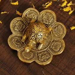 Golden Plated Feng Shui Tortoise On Plate For Decoration, Good Luck & Corporate Gift