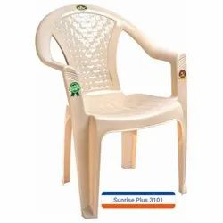 Marble Beige Plastic Chair With Armrest