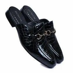 Mens Croco Embossed Black Mule Shoes For Men