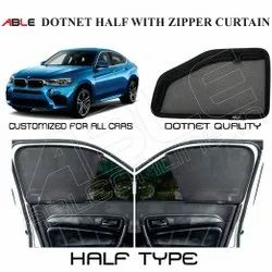 Black Mesh Fabric Able Dotnet Half With Zipper Curtain, For Cars