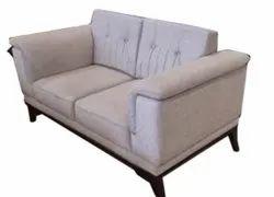 Modern White 2 Seater Wooden Sofa, For Home, Living Room