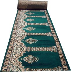 Green 4x26ft Soft Acrylic Janamaz Prayer Carpet, Packaging Type: Roll