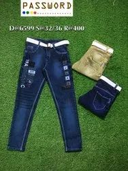 Party Wear Embroidery Kids Denim Jeans, Size: 32-36, Dry clean