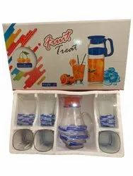 Fruit Treat Blue Juice Glass Set, For Home, 6 Glasses With Jar