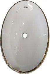 Oval Ceramic Table Top Wash Basin, For Bathroom, 545x300x170mm