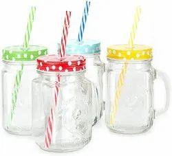 Glass Mason Jar With Handle, 450 Ml