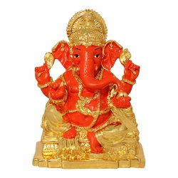 Gold Plated Colored Ganesha Polyresin Statue