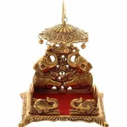 Gold Plated Metal Lord Laddu Gopal Ji Singhasan For Home Tample & Corporate Gift