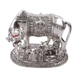 White Metal Kamdhenu Cow Calf Statue With Kanha Ji For Home & Wedding, Corporate Gift