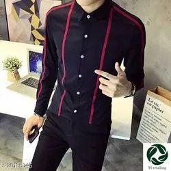 cotton Collar Neck Men Black Shirt