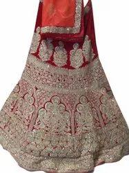 Chanderi Wedding Wear Semi Stitched Hand Work Lehenga