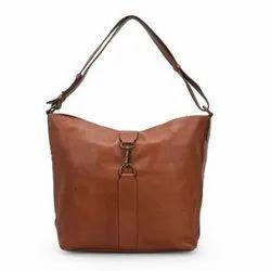 Jhanji Exports Brown Leather Bucket Bag, Size: Standard