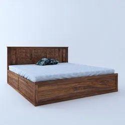 Modern Brown Sheesham Wood Bed, Size: King Size