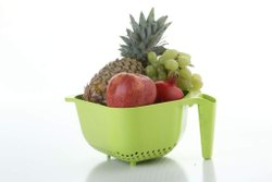 Green Plastic Multipurpose Fruit Vegetable Strainer Colander Bowl with Handle, Thickness: 15 Cm