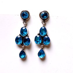 Blue Topaz Gemstone Designer Earrings