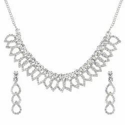 Alloy White Fancy Crystal Austrian Diamond Choker Necklace Earrings Jewellery Set