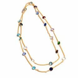 Multi Gemstone Gold Plated Women Necklace