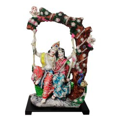 Radha Krishna Polyresin Statue with Stone and Pearl Jewllery