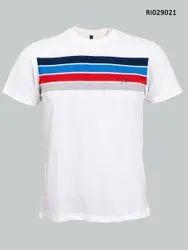 Round Half Sleeve Men Casual T Shirt, Size: Medium