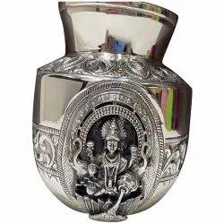 Polished 400gm Silver Laxmi Kalash