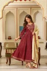 Cotton Party Wear Heavy Embroidered Suits